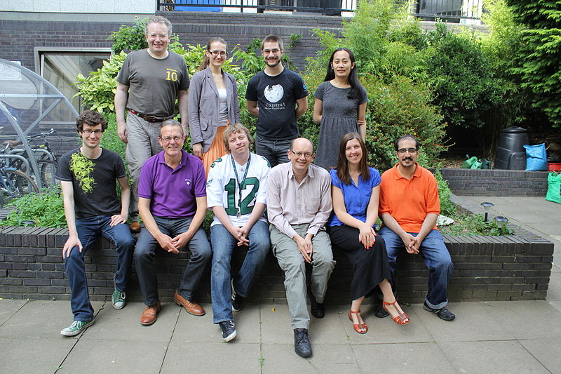 Photo shows the staff of Wikimedia UK in summer 2013