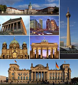 Clockwise:Charlottenburg Palace, Fernsehturm Berlin, Reichstag building, Berlin Cathedral, Alte Nationalgalerie, Potsdamer Platz and Brandenburg Gate.
