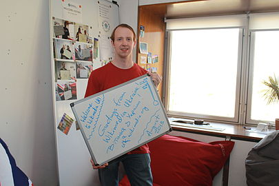 Wikimedia UK visitors photo wall August 2013 (01).JPG