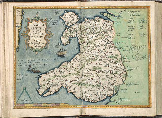 Map of Wales, from Atlas Ortelius by Abraham Ortelius. Original edition from 1571