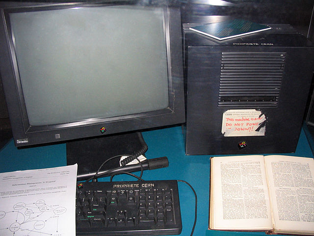 This NeXT workstation (a NeXTcube) was used by Tim Berners-Lee as the first Web server on the World Wide Web - Photo by user:geni GFDL CC-BY-SA 4.0