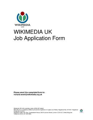 The application form for a job opening at Wikimedia UK.