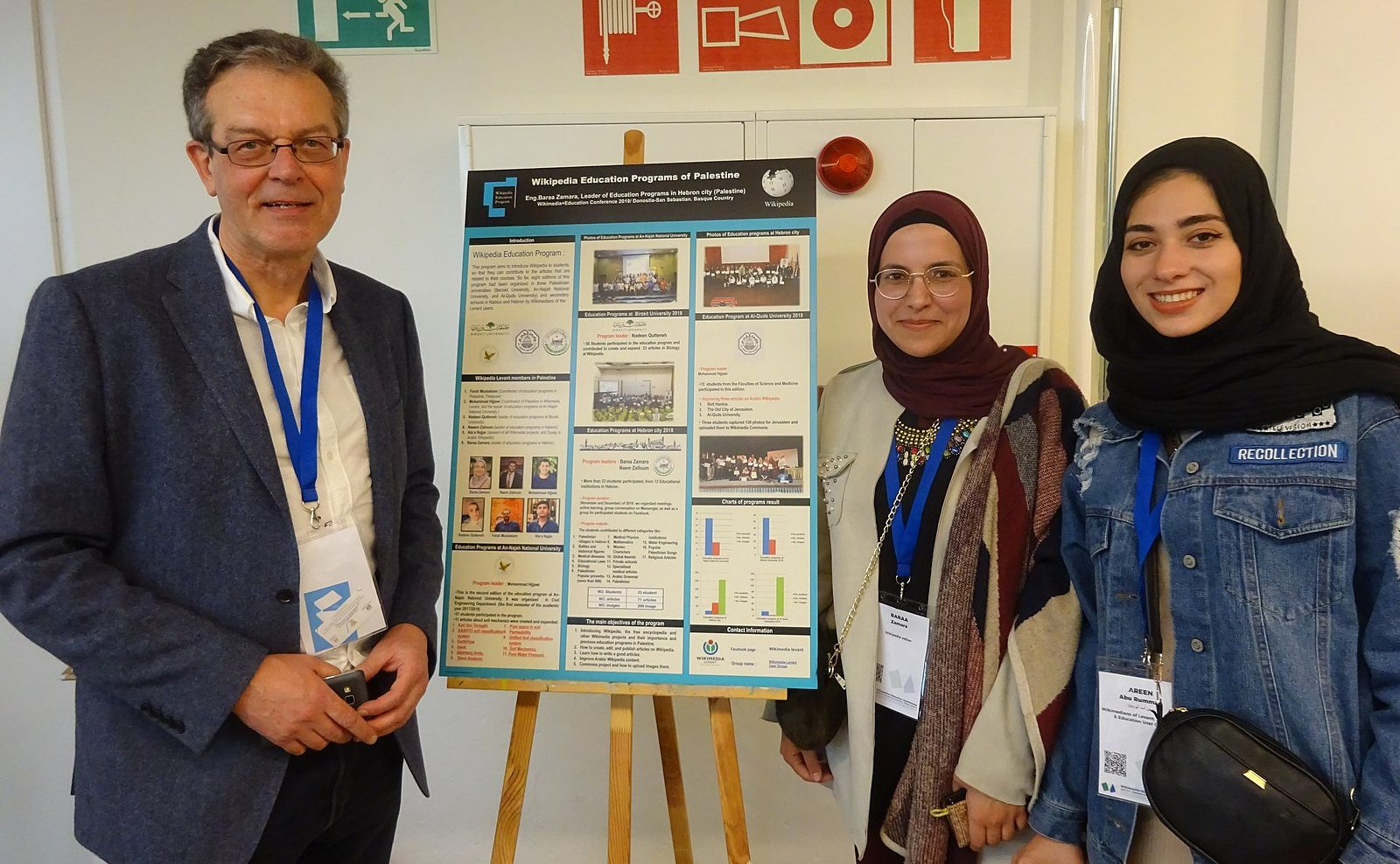 Wikimedians from Wales, Palestine and Jordan at EduWiki Education Conference